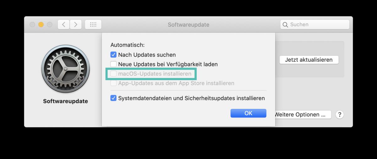 Automatische MacOS Update deaktivieren