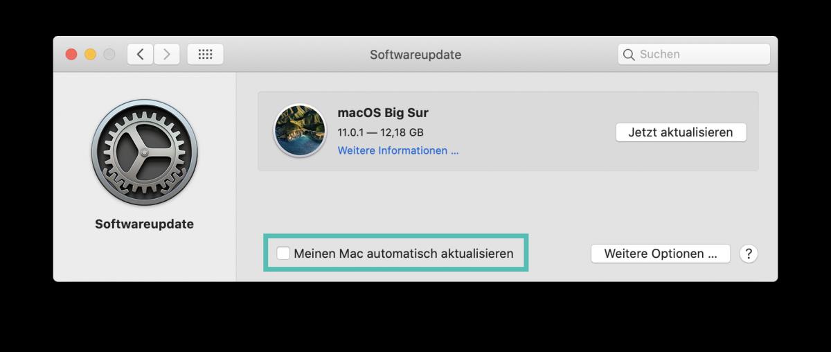 MacOS Big Sur Update ausschliessen